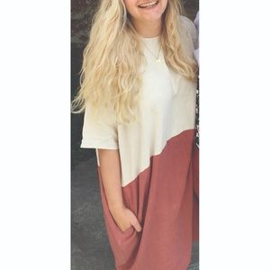 Dresses & Skirts - Coral Salmon Rust Colorblock Linen Dress